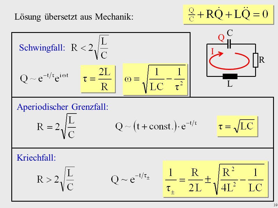 39 R C L I Q Lösung übersetzt aus Mechanik: Schwingfall: Aperiodischer Grenzfall:Kriechfall: