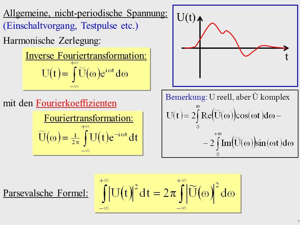 7 Allgemeine, nicht-periodische Spannung: Parsevalsche Formel: U(t) t (Einschaltvorgang, Testpulse etc.) mit den Fourierkoeffizienten Fouriertransform