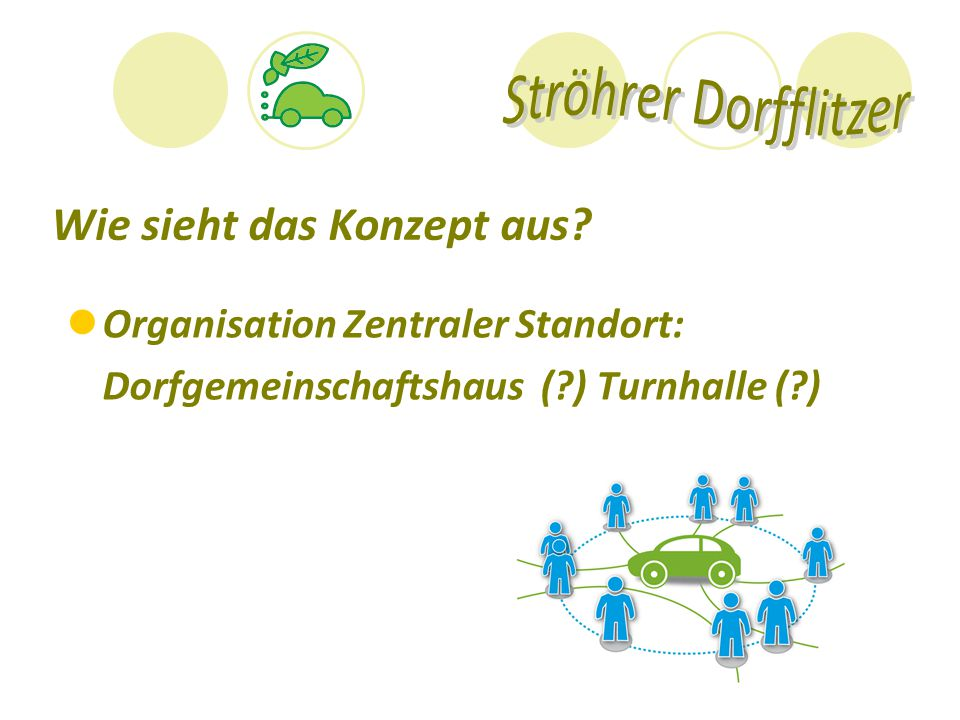 Wie sieht das Konzept aus? Organisation Zentraler Standort: Dorfgemeinschaftshaus (?) Turnhalle (?)