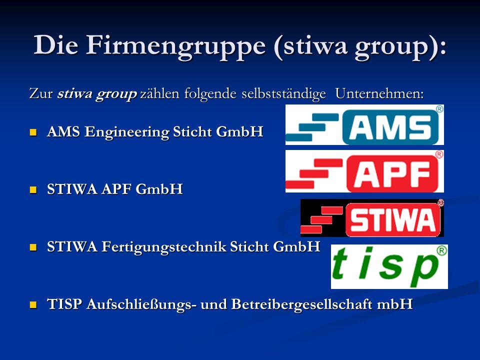 Die Firmengruppe (stiwa group): Zur stiwa group zählen folgende selbstständige Unternehmen: AMS Engineering Sticht GmbH AMS Engineering Sticht GmbH ST