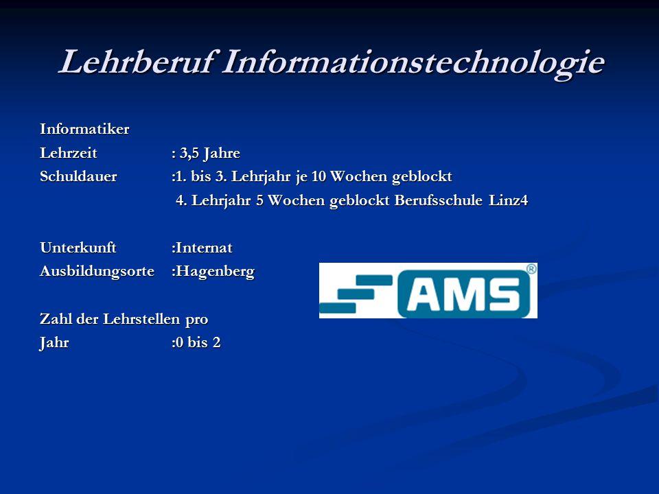 Lehrberuf Informationstechnologie Informatiker Lehrzeit: 3,5 Jahre Schuldauer :1.