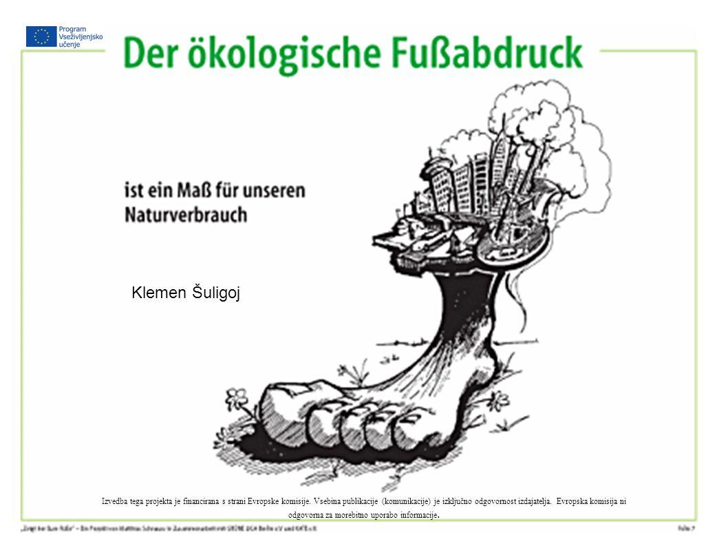 Ökologischer Fußabdruck Izvedba tega projekta je financirana s strani Evropske komisije.