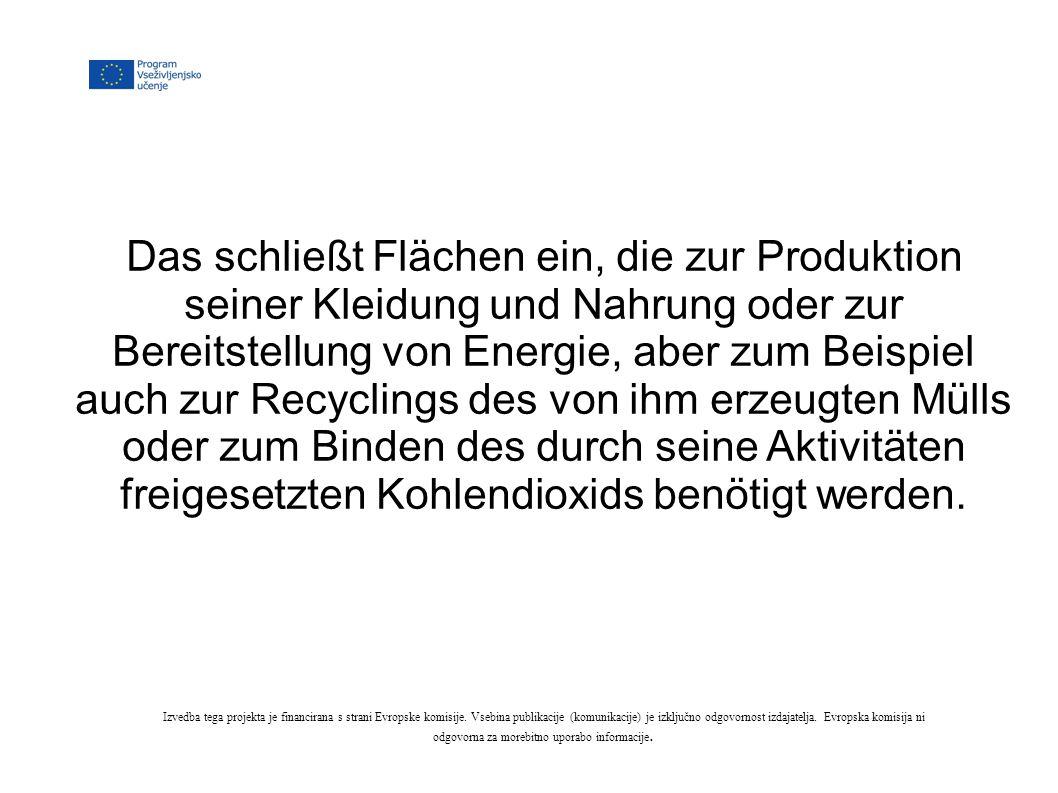 Das schließt Flächen ein, die zur Produktion seiner Kleidung und Nahrung oder zur Bereitstellung von Energie, aber zum Beispiel auch zur Recyclings des von ihm erzeugten Mülls oder zum Binden des durch seine Aktivitäten freigesetzten Kohlendioxids benötigt werden.