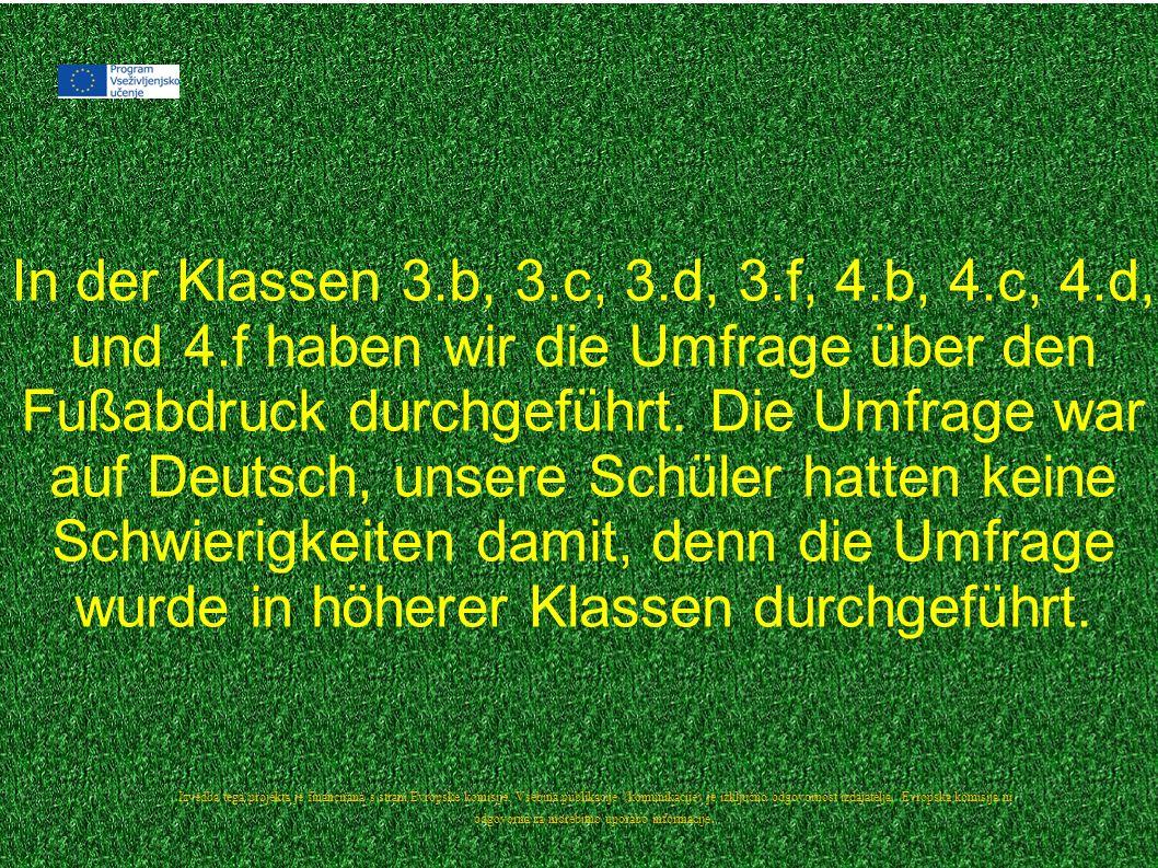 In der Klassen 3.b, 3.c, 3.d, 3.f, 4.b, 4.c, 4.d, und 4.f haben wir die Umfrage über den Fußabdruck durchgeführt.