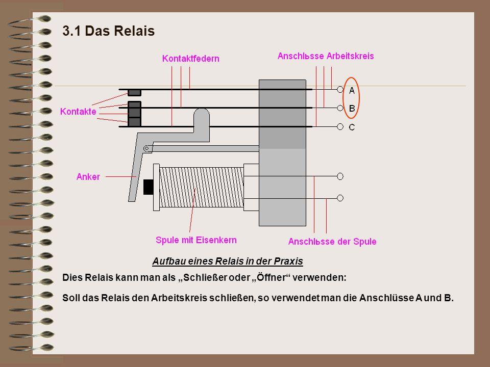 """3.1 Das Relais Aufbau eines Relais in der Praxis Dies Relais kann man als """"Schließer oder """"Öffner"""" verwenden: Soll das Relais den Arbeitskreis schließ"""