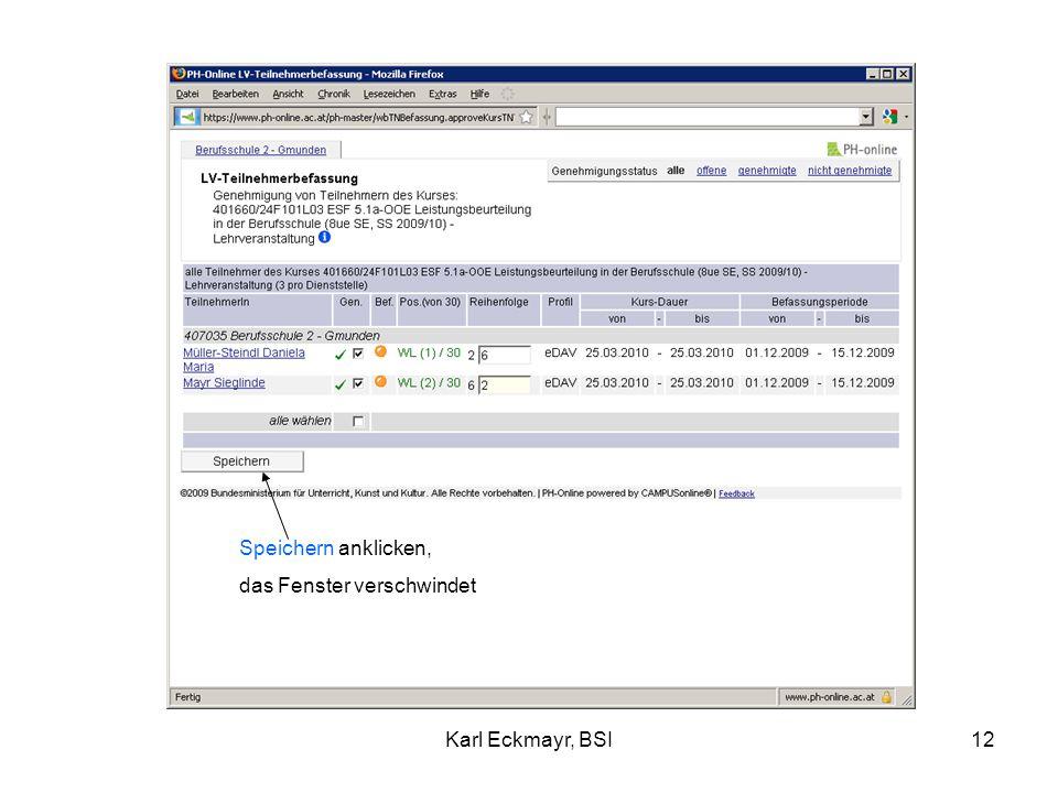 Karl Eckmayr, BSI12 Speichern anklicken, das Fenster verschwindet
