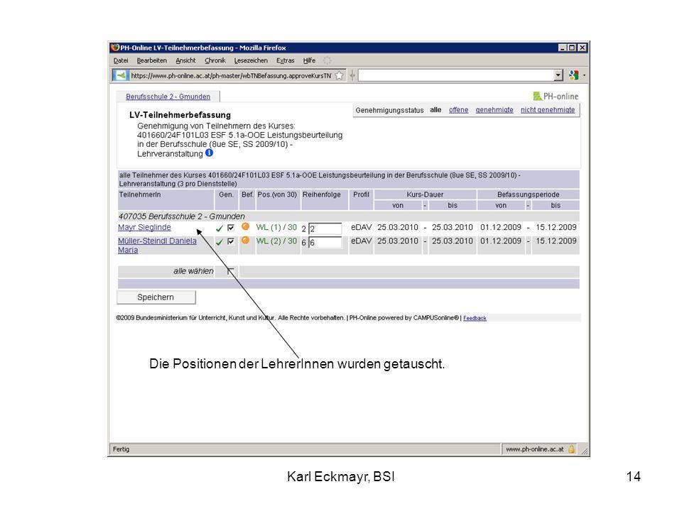 Karl Eckmayr, BSI14 Die Positionen der LehrerInnen wurden getauscht.