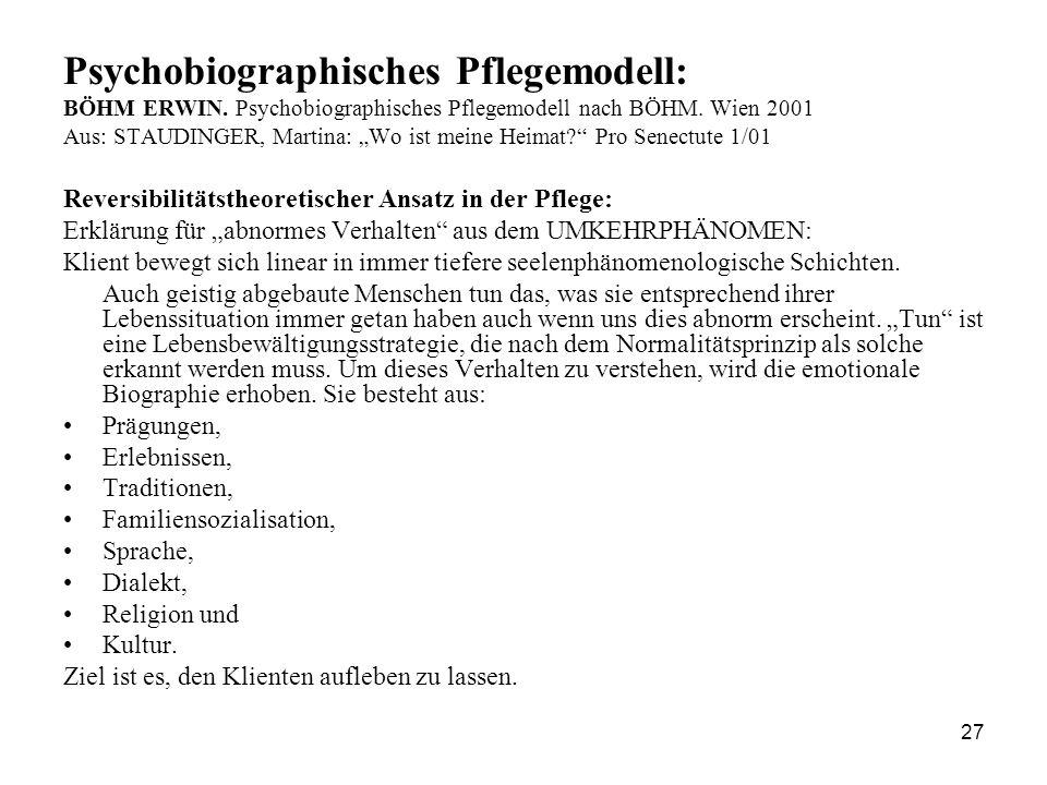 """27 Psychobiographisches Pflegemodell: BÖHM ERWIN. Psychobiographisches Pflegemodell nach BÖHM. Wien 2001 Aus: STAUDINGER, Martina: """"Wo ist meine Heima"""