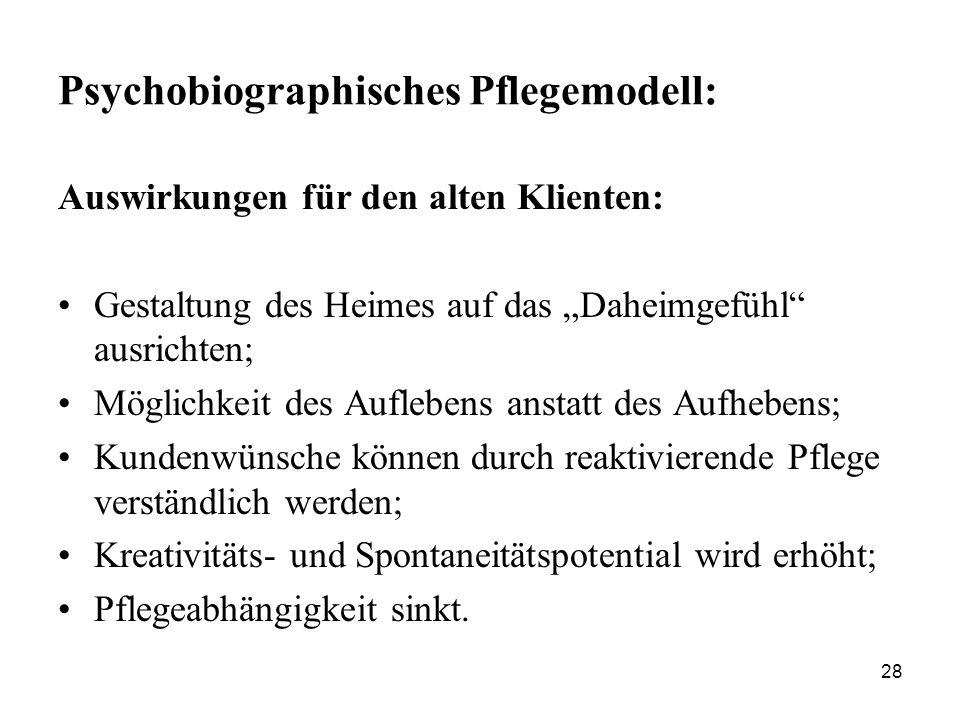 """28 Psychobiographisches Pflegemodell: Auswirkungen für den alten Klienten: Gestaltung des Heimes auf das """"Daheimgefühl"""" ausrichten; Möglichkeit des Au"""