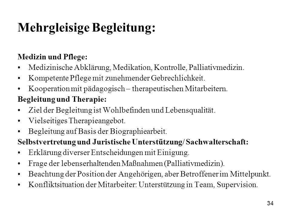 34 Mehrgleisige Begleitung: Medizin und Pflege: Medizinische Abklärung, Medikation, Kontrolle, Palliativmedizin. Kompetente Pflege mit zunehmender Geb