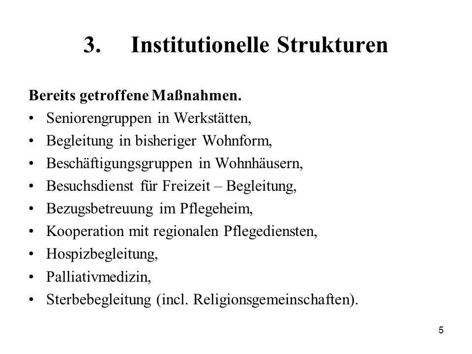 5 3. Institutionelle Strukturen Bereits getroffene Maßnahmen. Seniorengruppen in Werkstätten, Begleitung in bisheriger Wohnform, Beschäftigungsgruppen