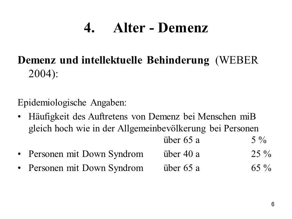 6 4.Alter - Demenz Demenz und intellektuelle Behinderung (WEBER 2004): Epidemiologische Angaben: Häufigkeit des Auftretens von Demenz bei Menschen miB