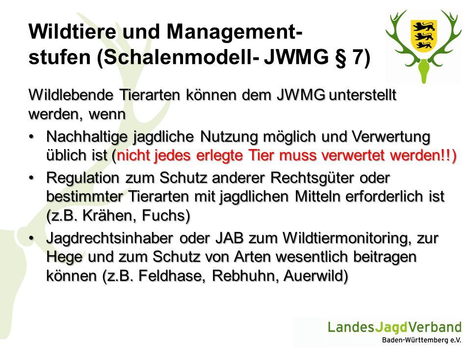 Wildtiere und Management- stufen (Schalenmodell- JWMG § 7) Wildlebende Tierarten können dem JWMG unterstellt werden, wenn Nachhaltige jagdliche Nutzun