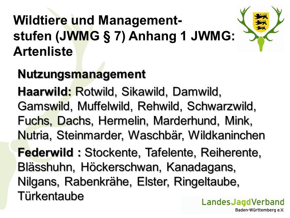 Wildtiere und Management- stufen (JWMG § 7) Anhang 1 JWMG: Artenliste Nutzungsmanagement Haarwild: Rotwild, Sikawild, Damwild, Gamswild, Muffelwild, R