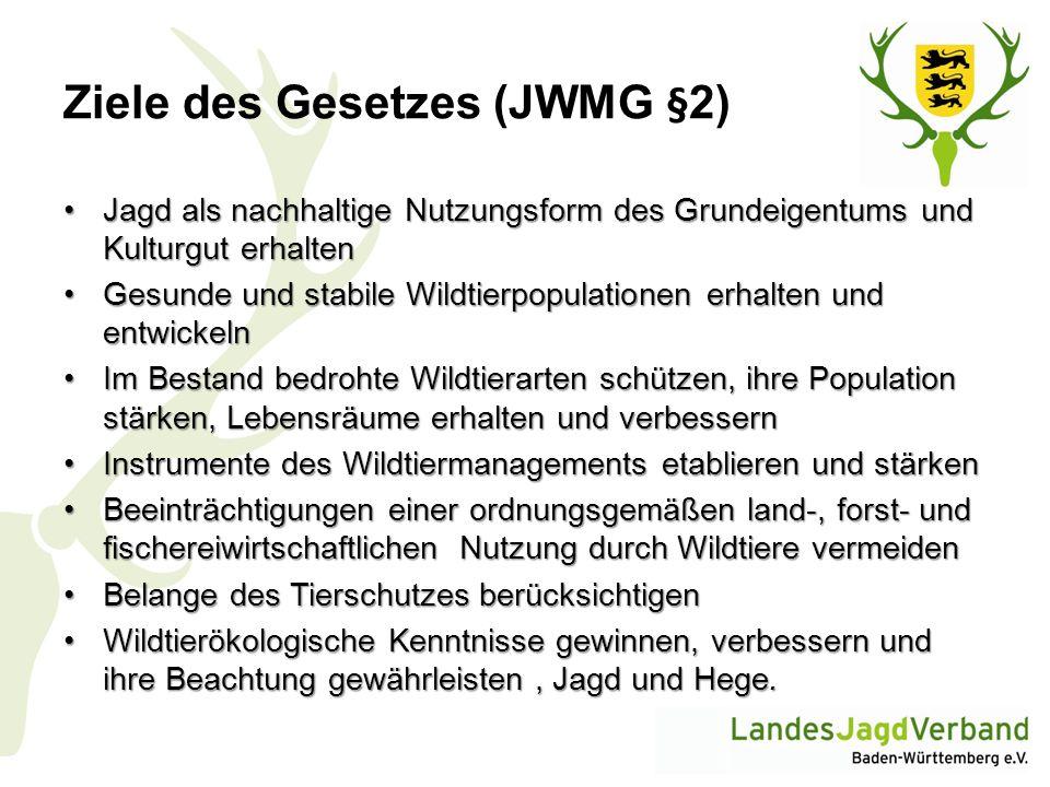 Ziele des Gesetzes (JWMG §2) Jagd als nachhaltige Nutzungsform des Grundeigentums und Kulturgut erhaltenJagd als nachhaltige Nutzungsform des Grundeig