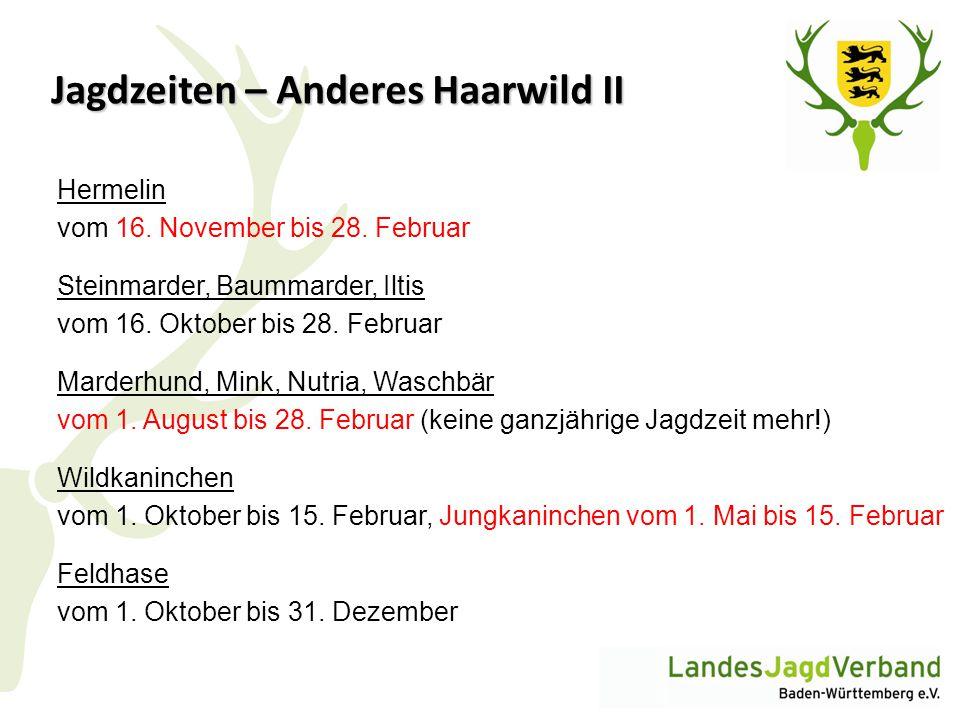 Jagdzeiten – Anderes Haarwild II Hermelin vom 16. November bis 28. Februar Steinmarder, Baummarder, Iltis vom 16. Oktober bis 28. Februar Marderhund,