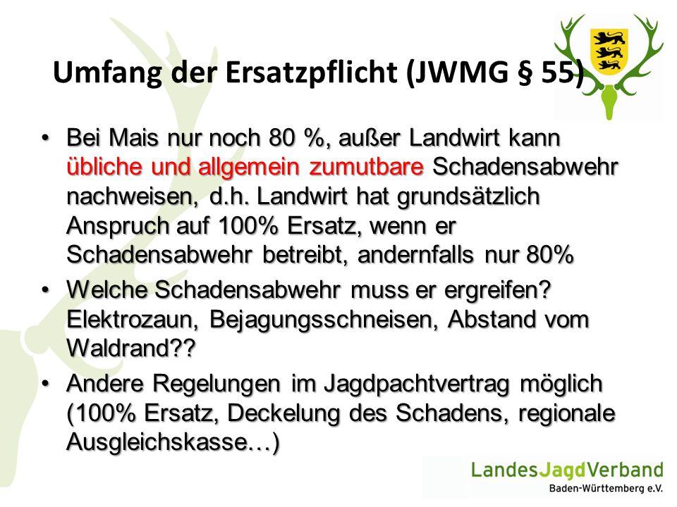 Umfang der Ersatzpflicht (JWMG § 55) Bei Mais nur noch 80 %, außer Landwirt kann übliche und allgemein zumutbare Schadensabwehr nachweisen, d.h. Landw
