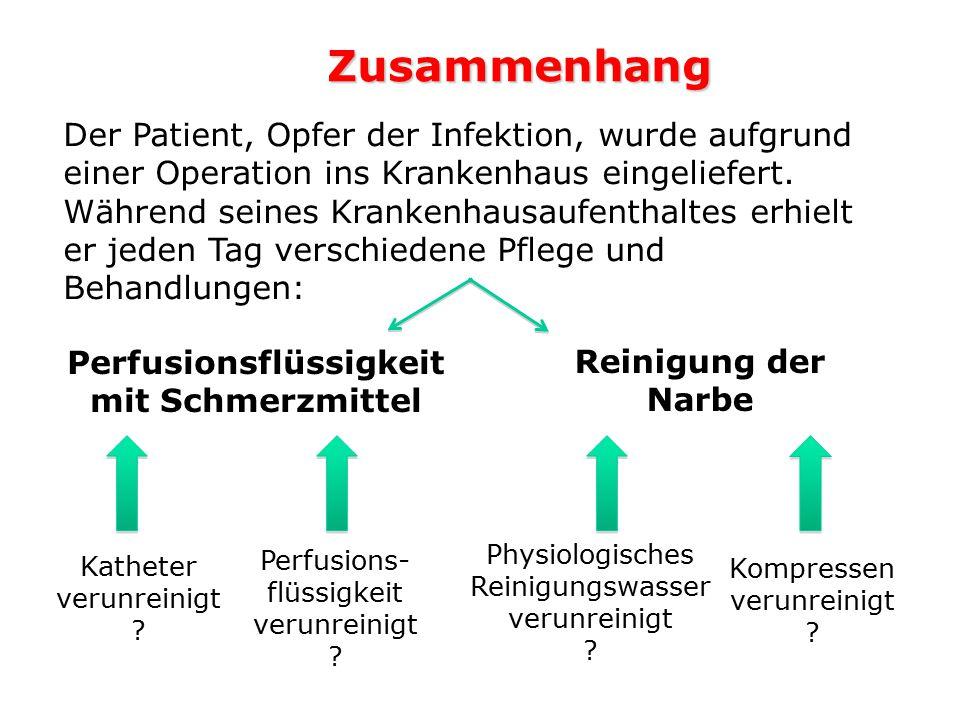 1.Nachweis von bakteriellen Verunreinigungen auf Kompressen