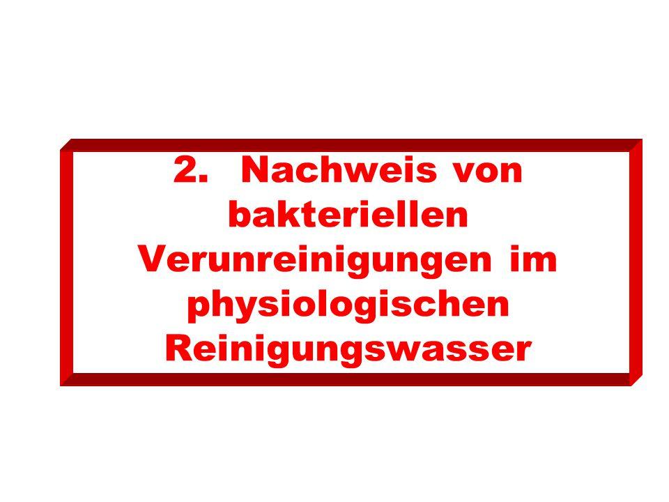 2.Nachweis von bakteriellen Verunreinigungen im physiologischen Reinigungswasser
