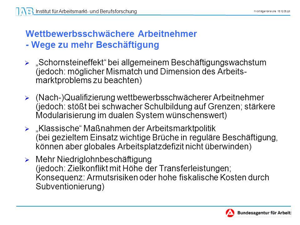 """Institut für Arbeitsmarkt- und Berufsforschung h/vorträge/Karlsruhe 15.12.05.ppt Wettbewerbsschwächere Arbeitnehmer - Wege zu mehr Beschäftigung  """"Sc"""