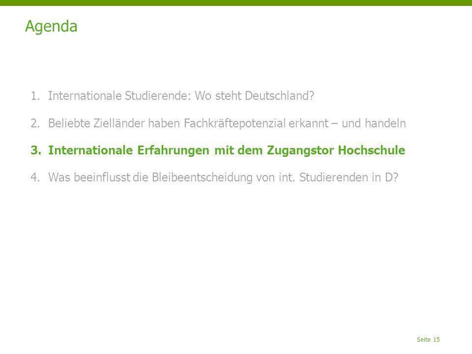 Seite 15 Agenda 1.Internationale Studierende: Wo steht Deutschland.