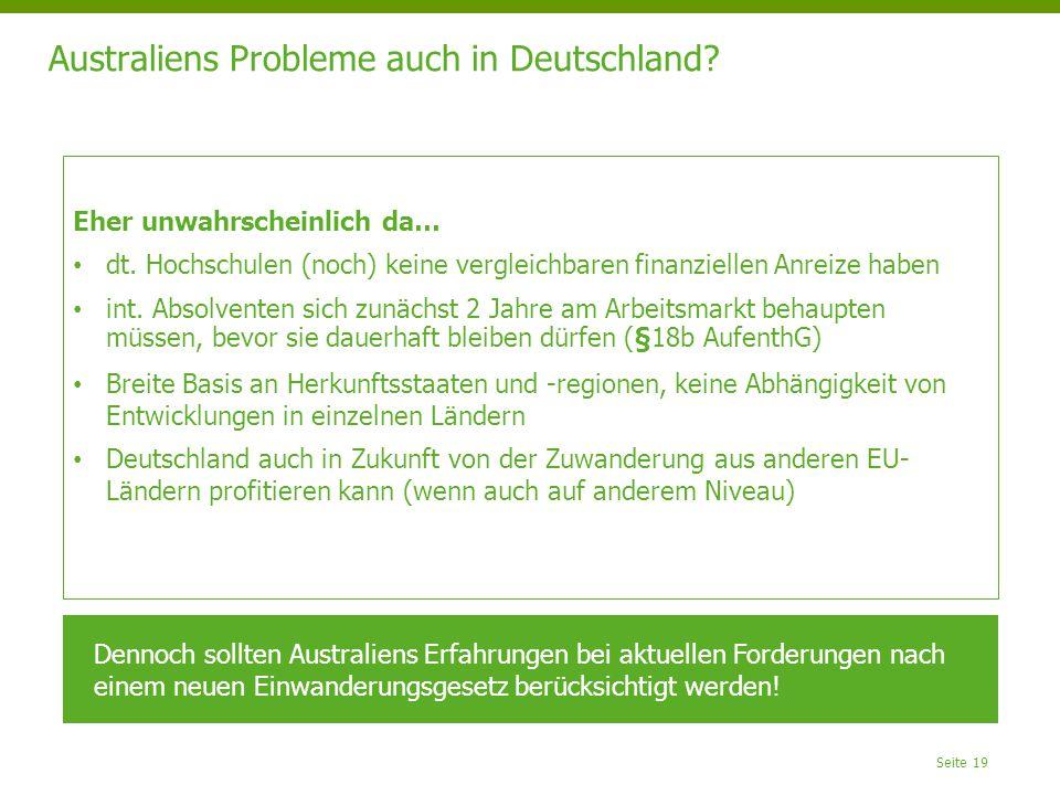 Australiens Probleme auch in Deutschland? Seite 19 Eher unwahrscheinlich da… dt. Hochschulen (noch) keine vergleichbaren finanziellen Anreize haben in