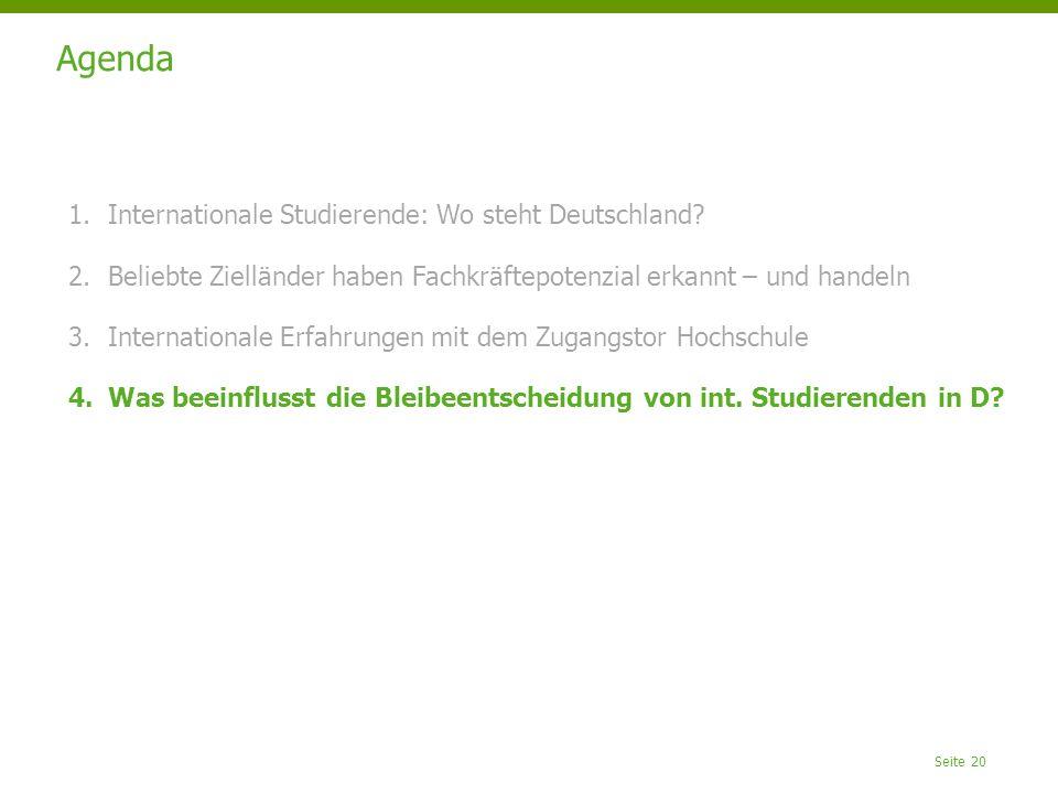 Seite 20 Agenda 1.Internationale Studierende: Wo steht Deutschland.