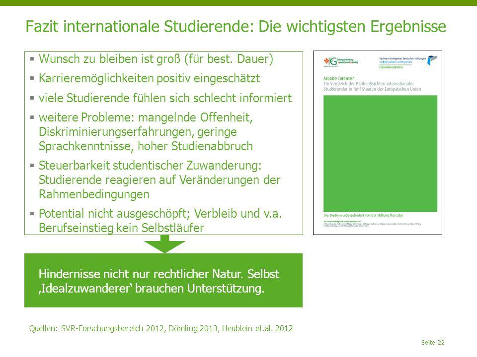 Fazit internationale Studierende: Die wichtigsten Ergebnisse Seite 22  Wunsch zu bleiben ist groß (für best. Dauer)  Karrieremöglichkeiten positiv e