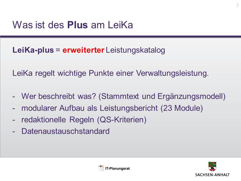 Was ist des Plus am LeiKa LeiKa-plus = erweiterter Leistungskatalog LeiKa regelt wichtige Punkte einer Verwaltungsleistung. -Wer beschreibt was? (Stam