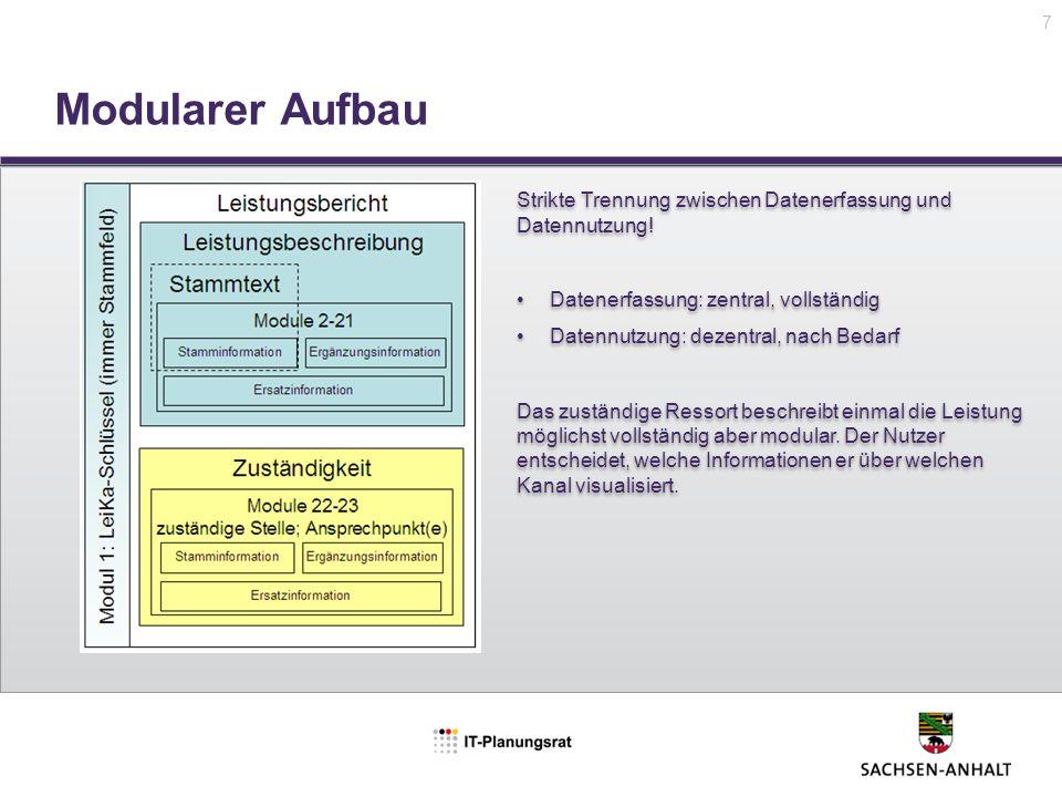 Modularer Aufbau 7 Strikte Trennung zwischen Datenerfassung und Datennutzung! Datenerfassung: zentral, vollständig Datennutzung: dezentral, nach Bedar