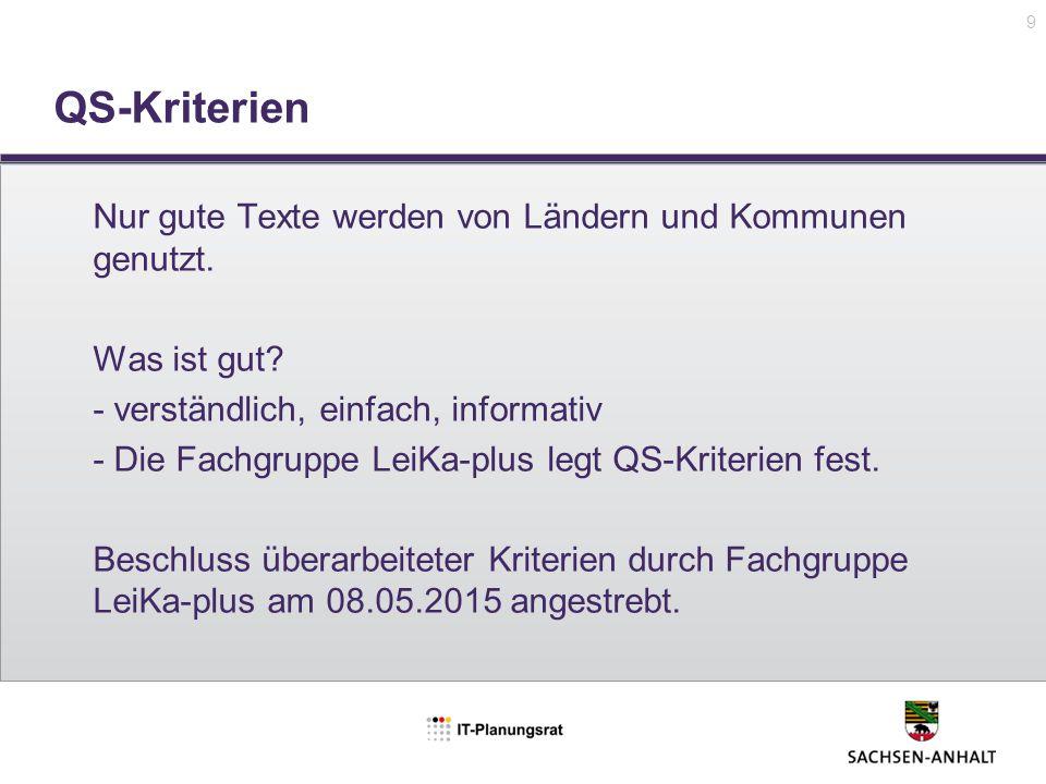 QS-Kriterien 9 Nur gute Texte werden von Ländern und Kommunen genutzt. Was ist gut? - verständlich, einfach, informativ - Die Fachgruppe LeiKa-plus le