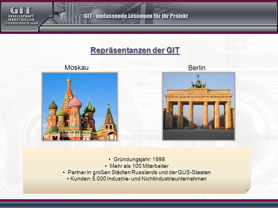 Moskau Berlin Gründungsjahr: 1998 Mehr als 100 Mitarbeiter Partner in großen Städten Russlands und der GUS-Staaten Kunden: 5.000 Industrie- und Nichtindustrieunternehmen Repräsentanzen der GIT