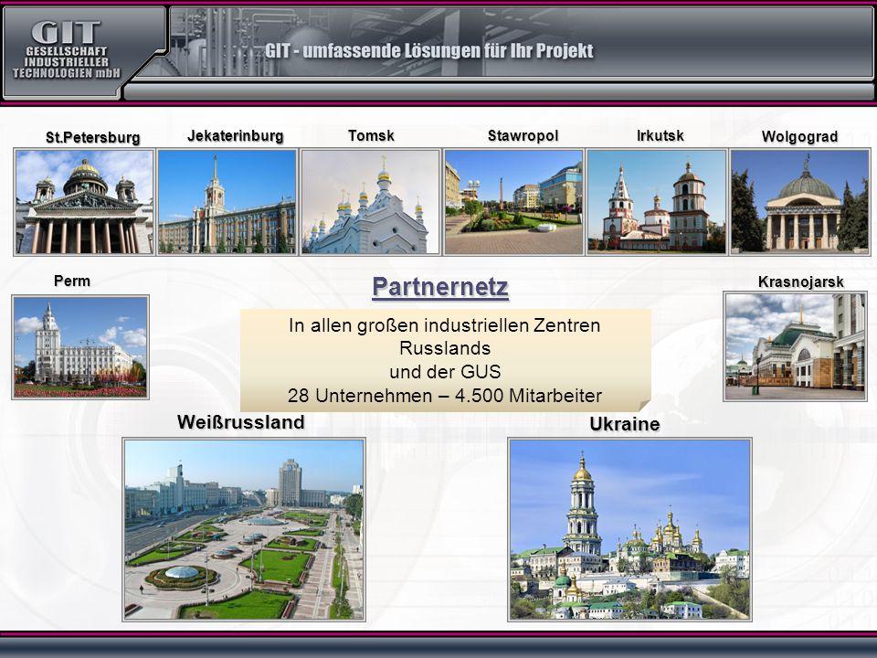 In allen großen industriellen Zentren Russlands und der GUS 28 Unternehmen – 4.500 Mitarbeiter Weißrussland Ukraine St.Petersburg Wolgograd Krasnojarsk Irkutsk Perm StawropolJekaterinburgTomsk Partnernetz