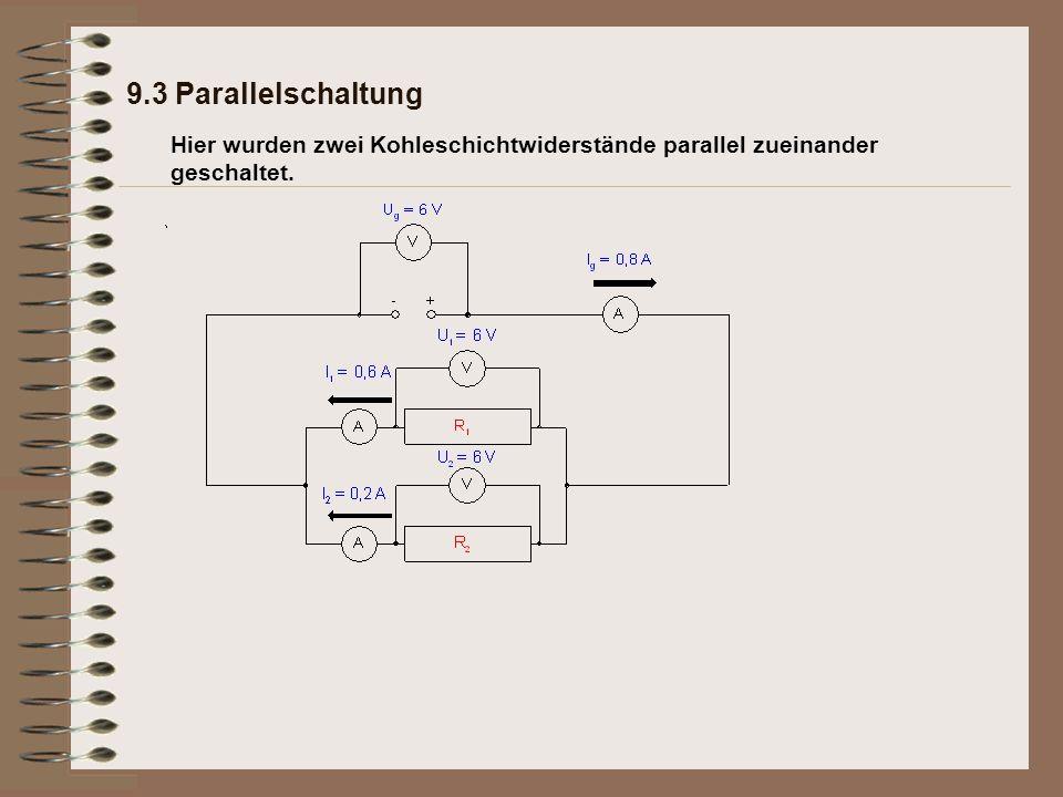 Hier wurden zwei Kohleschichtwiderstände parallel zueinander geschaltet. 9.3 Parallelschaltung