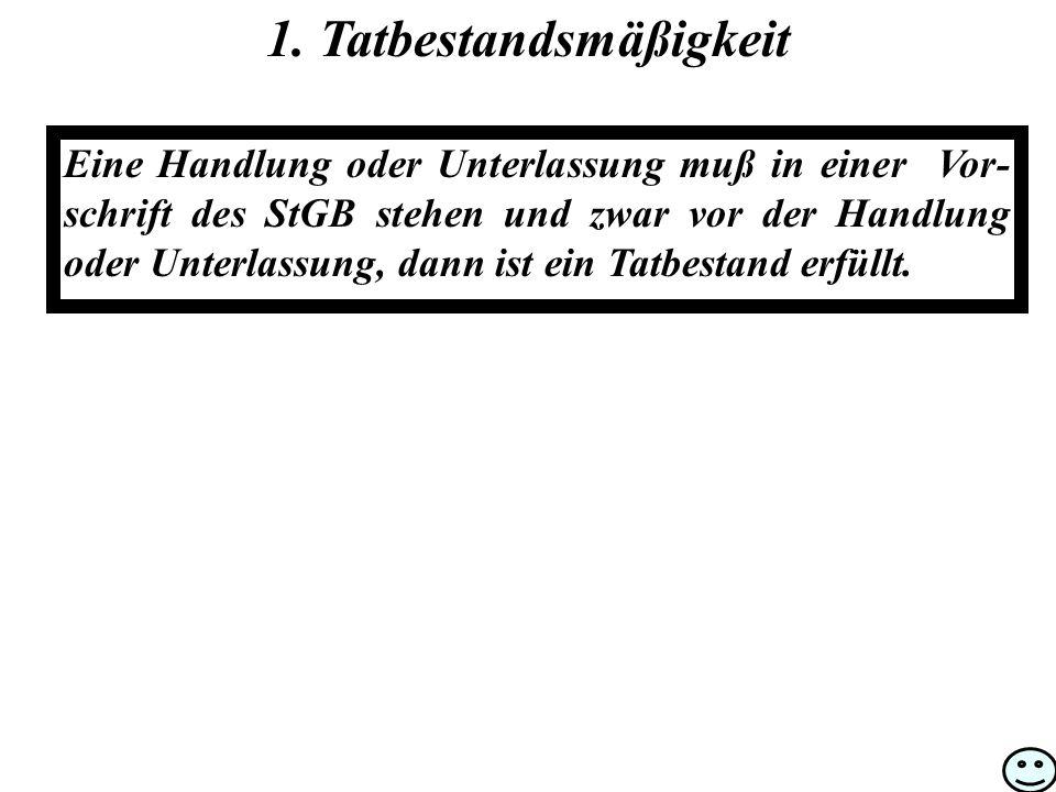 1. Tatbestandsmäßigkeit Eine Handlung oder Unterlassung muß in einer Vor- schrift des StGB stehen und zwar vor der Handlung oder Unterlassung, dann is