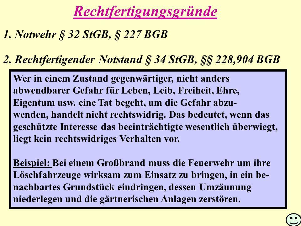 1.Notwehr § 32 StGB, § 227 BGB 2.