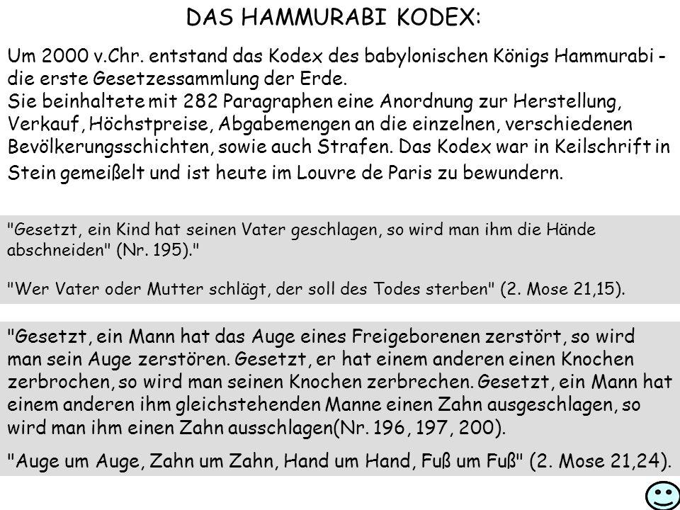 DAS HAMMURABI KODEX: Um 2000 v.Chr.