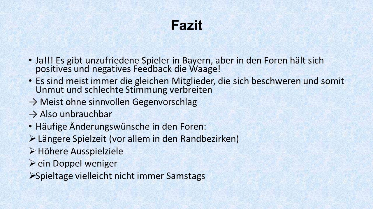 Fazit Ja!!! Es gibt unzufriedene Spieler in Bayern, aber in den Foren hält sich positives und negatives Feedback die Waage! Es sind meist immer die gl