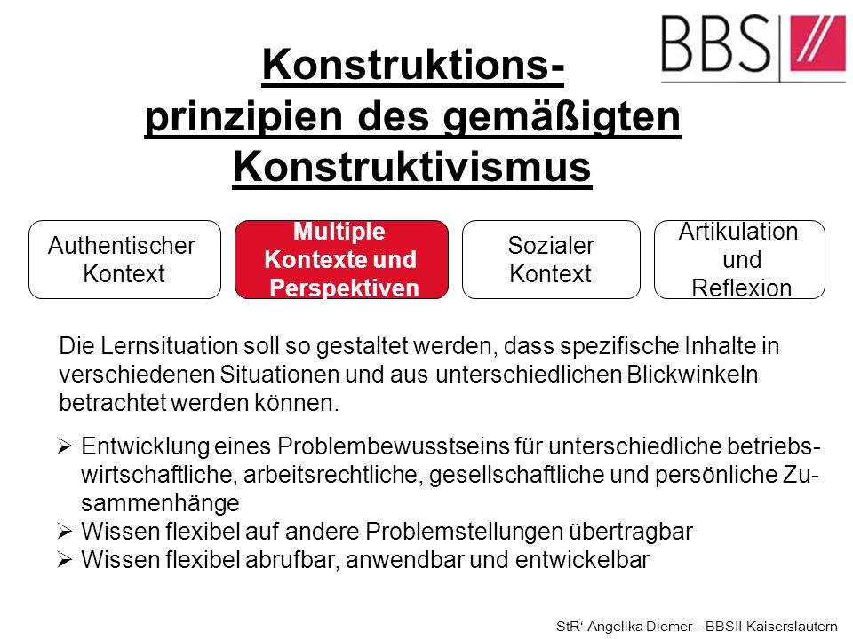 1.Konstruktionsprinzipien einer Lernsituation (gemäßigter Konstruktivismus) 2.