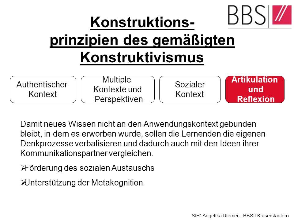 Konstruktions- prinzipien des gemäßigten Konstruktivismus Authentischer Kontext Multiple Kontexte und Perspektiven Sozialer Kontext Artikulation und R