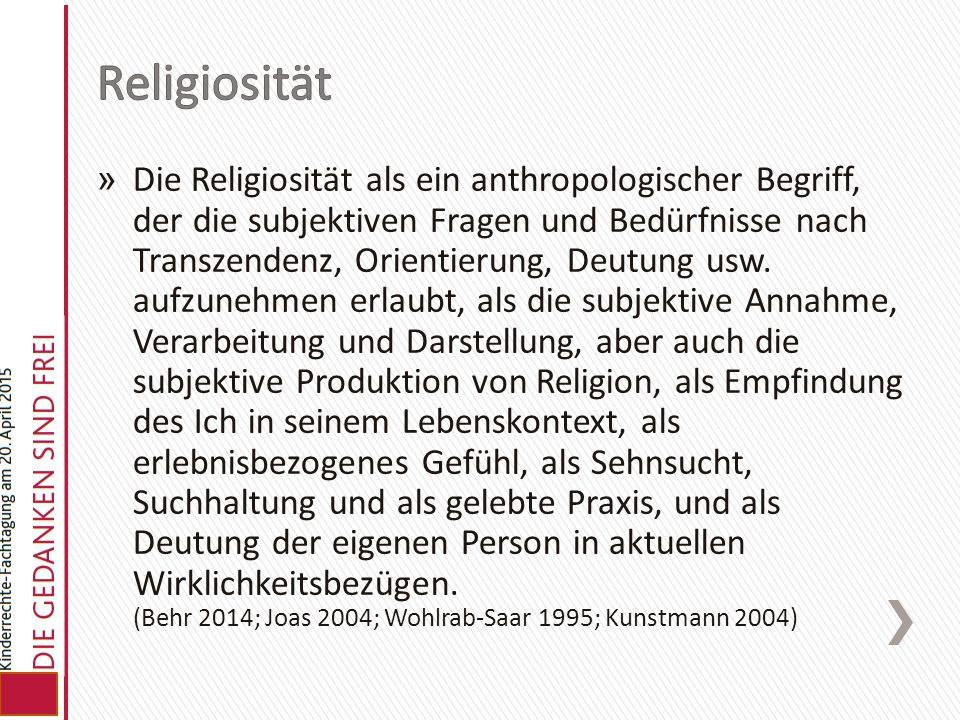 » Die Religiosität als ein anthropologischer Begriff, der die subjektiven Fragen und Bedürfnisse nach Transzendenz, Orientierung, Deutung usw. aufzune