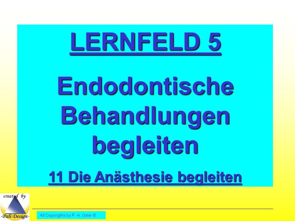 All Copyrights by P.-A. Oster ® LERNFELD 5 Endodontische Behandlungen begleiten 11 Die Anästhesie begleiten