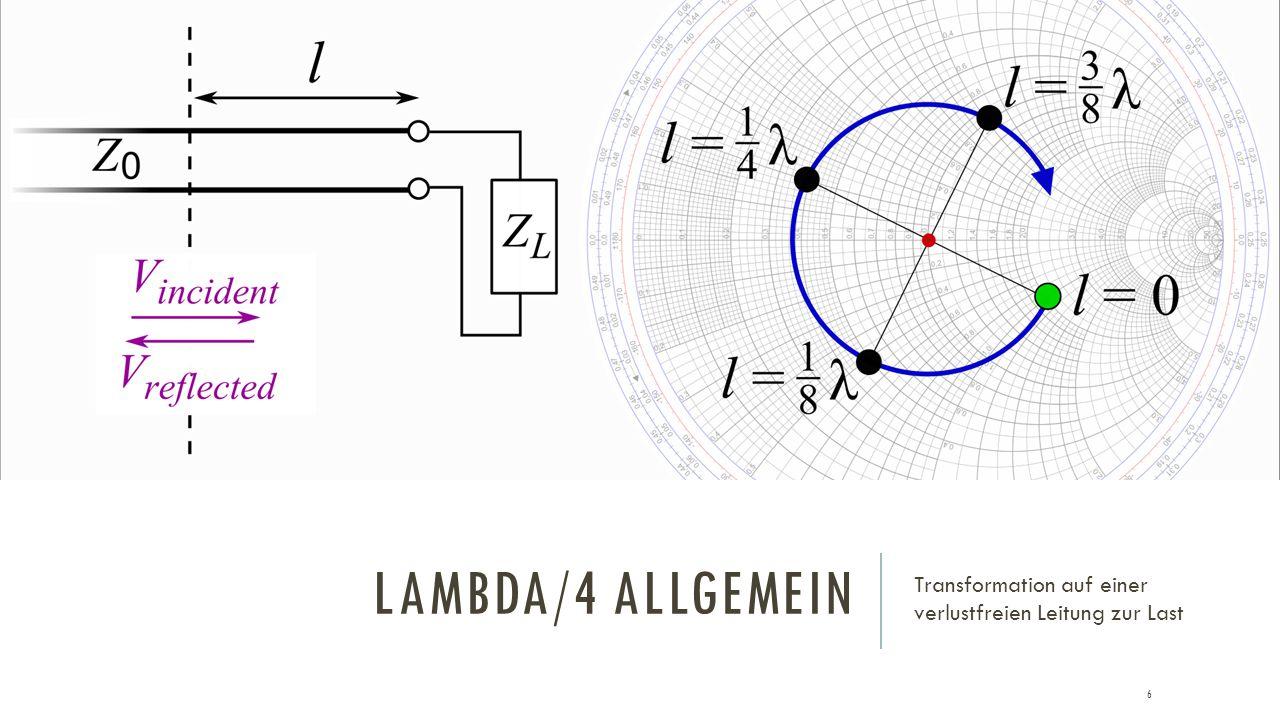 LAMBDA/4 ALLGEMEIN Transformation auf einer verlustfreien Leitung zur Last 6