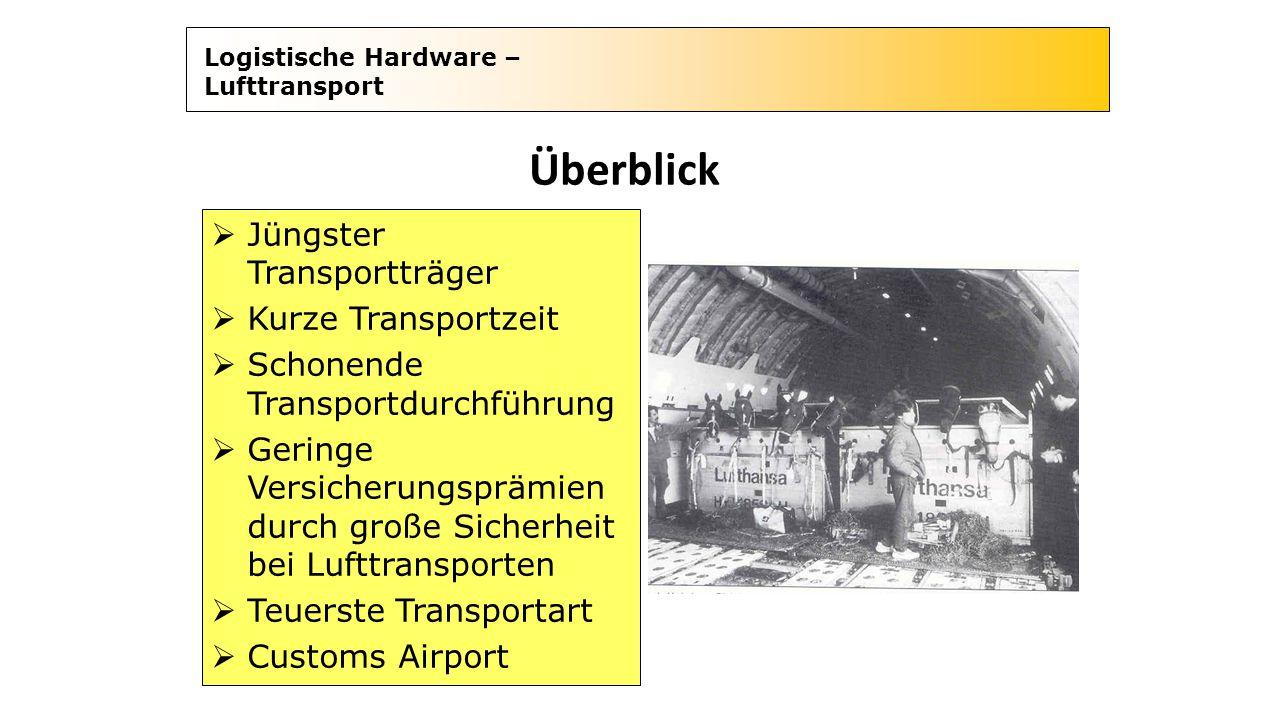 Logistische Hardware – Lufttransport Überblick  Jüngster Transportträger  Kurze Transportzeit  Schonende Transportdurchführung  Geringe Versicheru