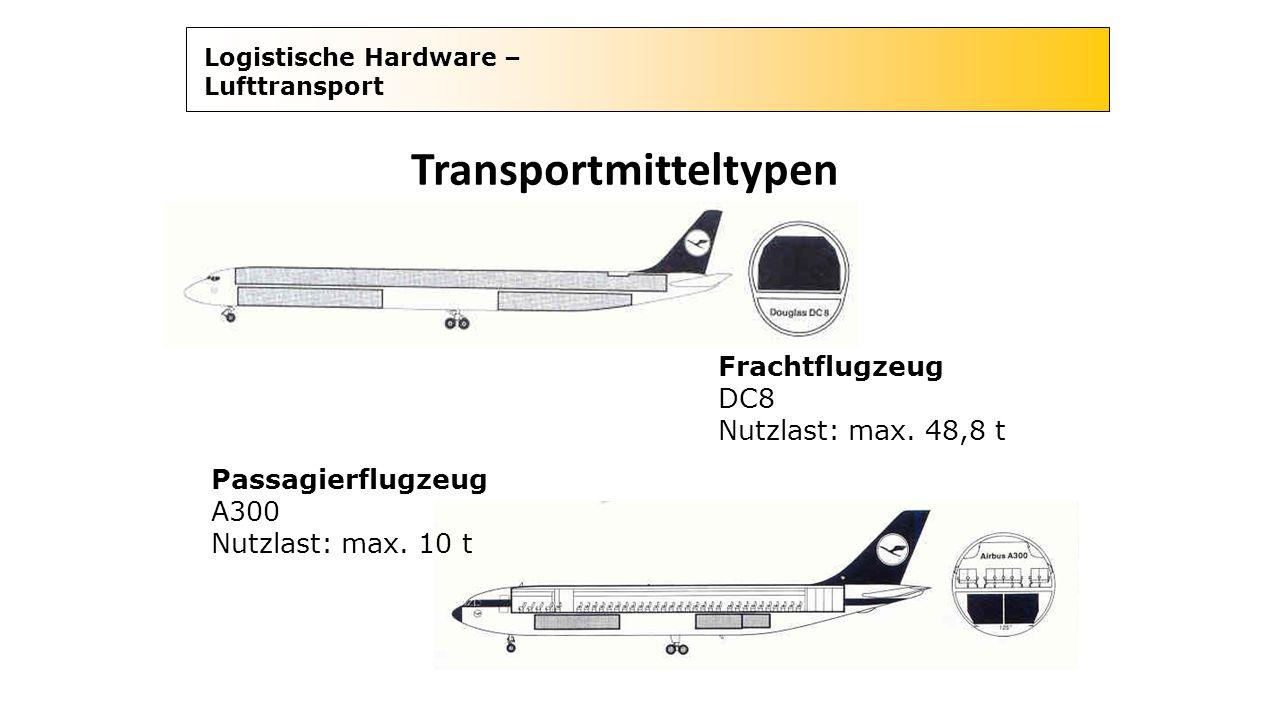 Logistische Hardware – Lufttransport Transportmitteltypen Frachtflugzeug DC8 Nutzlast: max. 48,8 t Passagierflugzeug A300 Nutzlast: max. 10 t