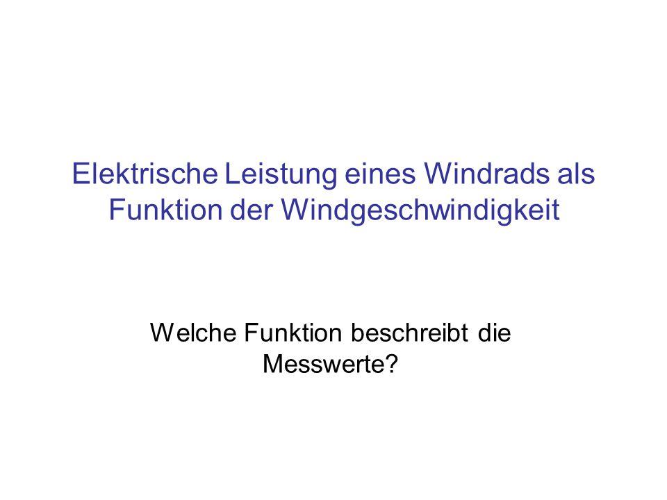 Elektrische Leistung eines Windrads als Funktion der Windgeschwindigkeit Welche Funktion beschreibt die Messwerte?