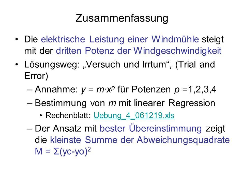 """Zusammenfassung Die elektrische Leistung einer Windmühle steigt mit der dritten Potenz der Windgeschwindigkeit Lösungsweg: """"Versuch und Irrtum"""", (Tria"""