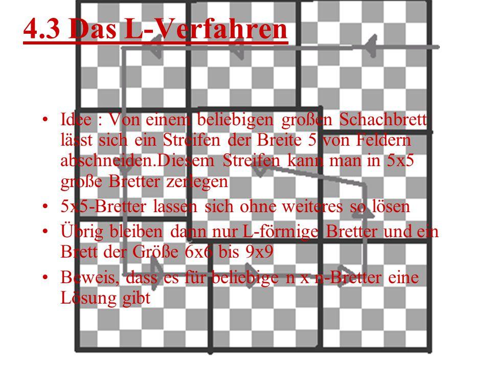 4.2 Die Warnsdorffregel Nach der Wansdorffregel zieht der Springer immer auf das Feld, von dem aus er für seinen nächsten Zug am wenigsten freie Felde