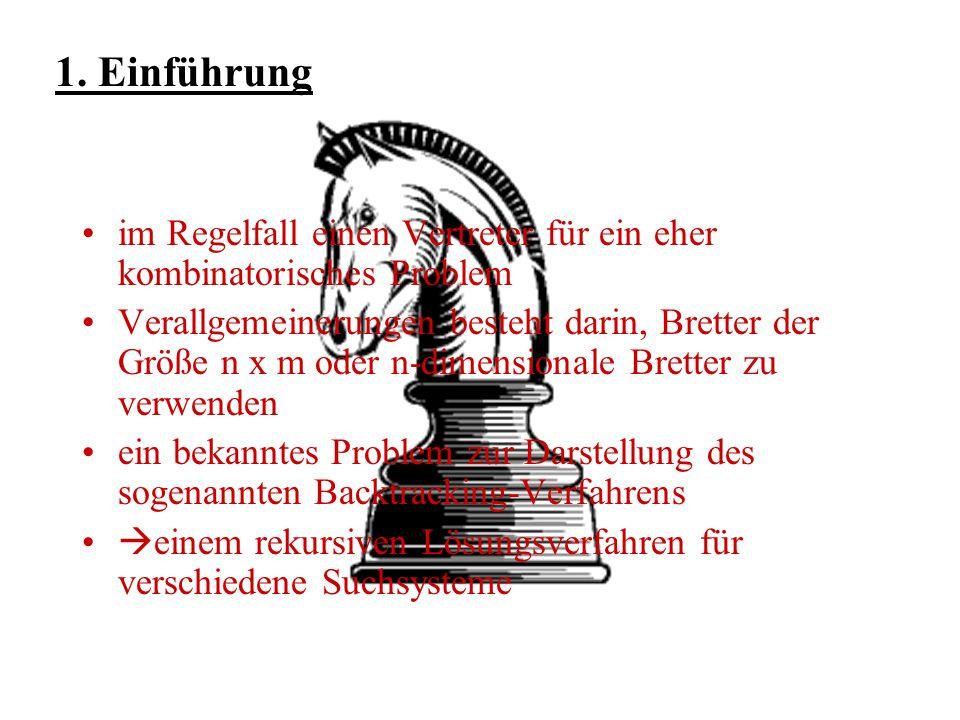 Gliederung 1. Definition und Erläuterung des Springerproblems 2. Geschichte und Ursprung (Hamiltonkreisproblem) 3. Problem des Springerproblems in Bez