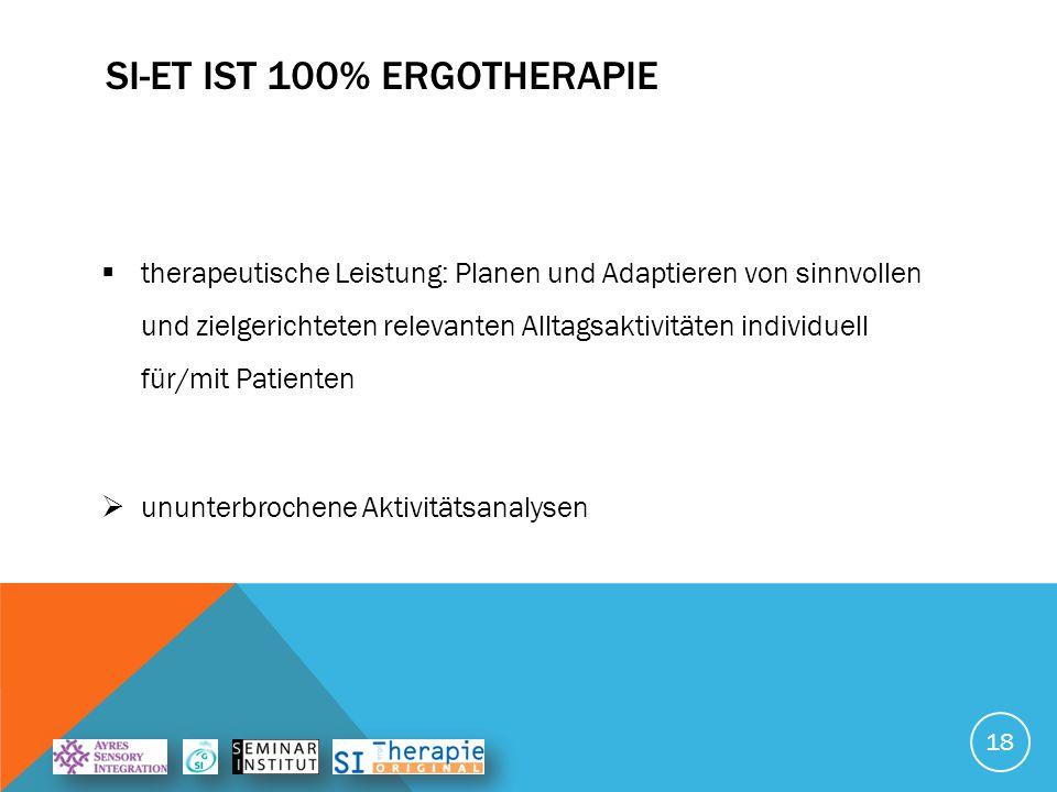 SI-ET IST 100% ERGOTHERAPIE  Wissenschaftliche Basis:  Medizin (neurologisch, entwicklungs- und biopsychologisch),  Occupational Science 19